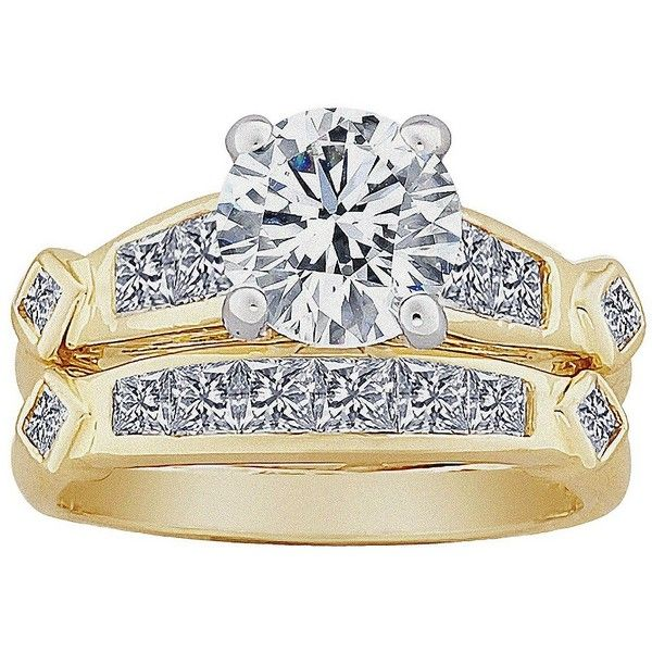 2-Piece Round & Square CZ Wedding Ring Set - Two-Tone ($50) ❤ liked on Polyvore featuring jewelry, rings, wedding, accessories, cubic zirconia wedding rings, cz wedding rings, engagement rings, cz band ring and wedding band ring