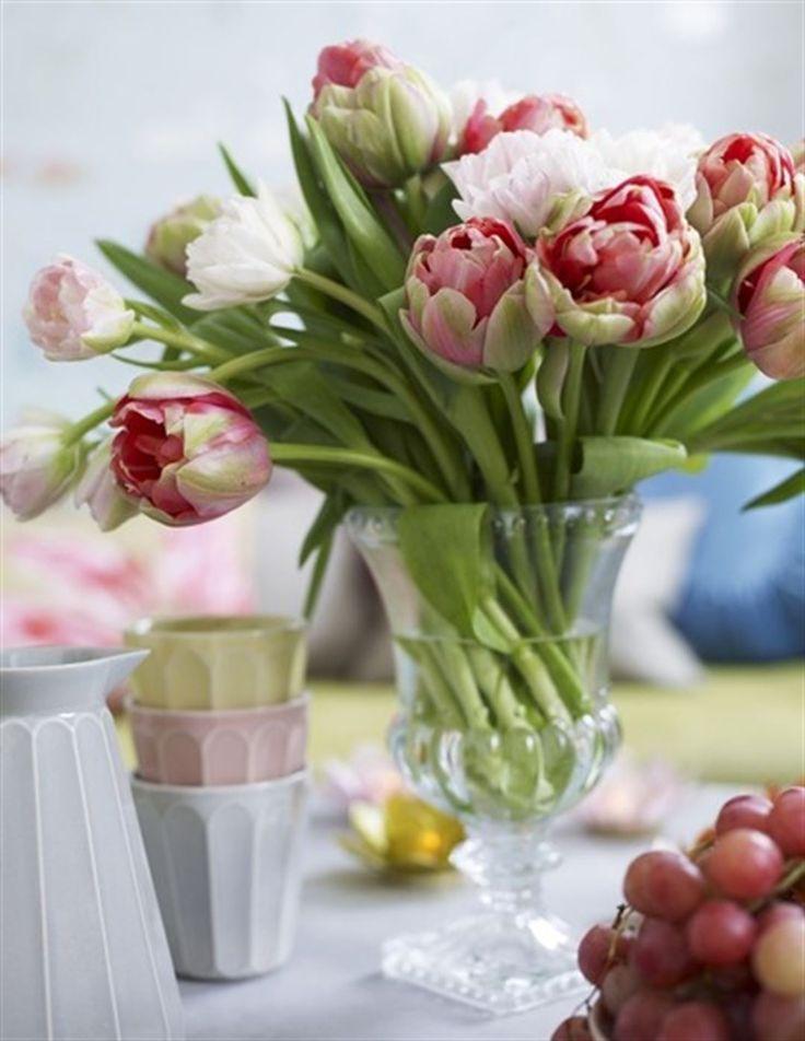 Blommigt. Urna på fot, 169 kronor Berry. Muggar Sandblom, 210 kronor styck samt karaff, Sandblom, 420 kronor, Garbo. Tulpaner från Vildrosor & Tistlar.