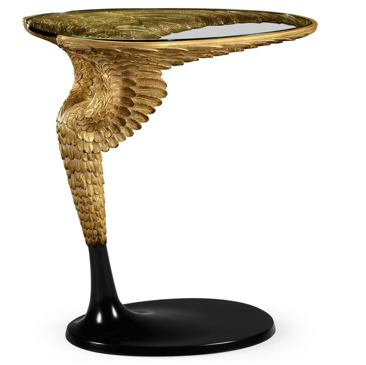 Limited Production Design & Stock: Elegant Antique Gold Wing Side Table * Intricate Hand Carving * 26 x 15 x 26 inches* Partner Wall Mirror, Side Table & Table Lamp Available
