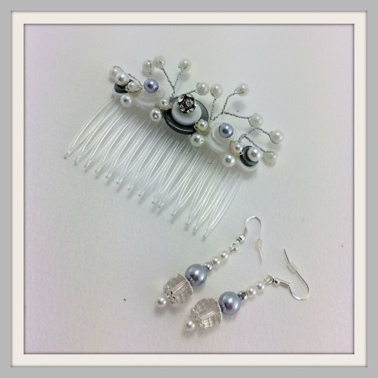 white-and-silver-hair-comb-and-earrings-framed