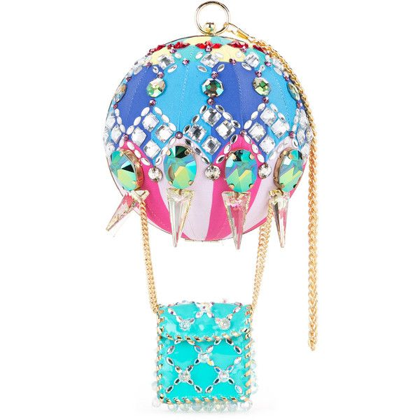 Manish Arora embellished clutch bag featuring polyvore, women's fashion, bags, handbags, clutches, blue, multi colored handbags, tri color handbags, blue purse, multi color purse and embellished purse