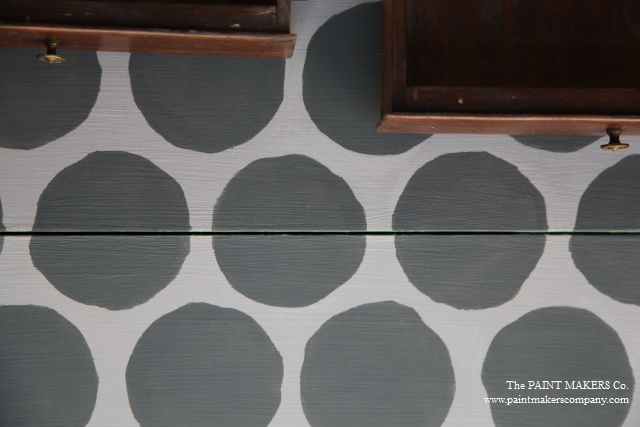 Lovely, charming, POLKA DOTS! Stencil pattern by The Paint Makers Co. Colours: Tortona Grey and Get the Look.