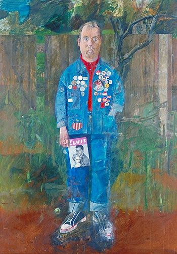 Self-Portrait With Badges, Peter Blake (1961) Peter Blake (born 25 June 1932 (age 81) Dartford, Kent, England) is an English pop artist, best known for co-creating the sleeve design for the Beatles' album Sgt. Pepper's Lonely Hearts Club Band. He lives in Chiswick, London. MovementPop art