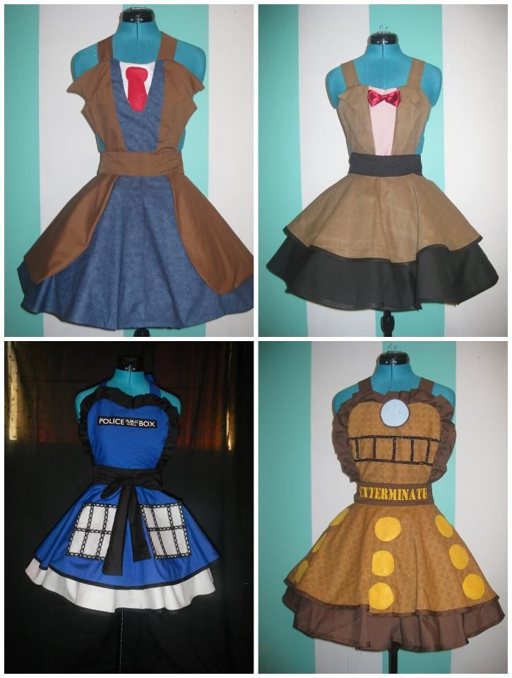 Tenth Doctor, Eleventh Doctor, TARDIS, and Dalek dresses by DarlingArmy. She also has a lovely new Eleventh Doctor one (more TARDIS colored than Doctor-y, but with a bow tie :) )