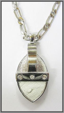 Ostrich leather crystal oval pendants - White OP15