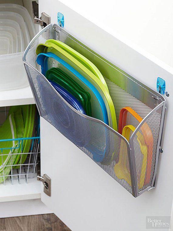 Magazine holder Plastic lids Organizer - DIY Space Saving Hacks to Organize Your Kitchen