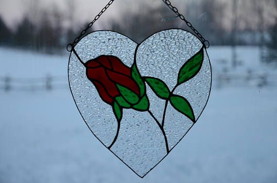 Stained Glass Rose Heart Sun Catcher