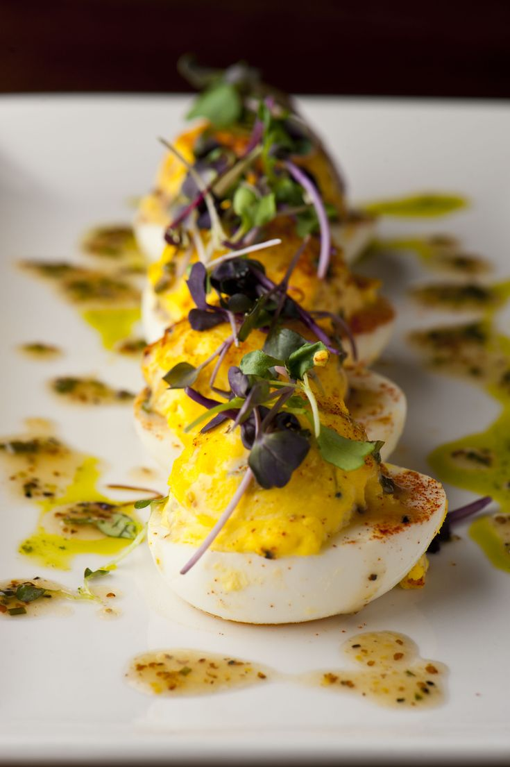 Executive chef Greg Lombardi of Del Frisco's Grille New York elevates the standard Deviled Eggs dish by adding a few creative twists. Think crunchy bread, butter pickles and tangy yellow mustard for a modern American comfort dish that is as easy to make as it is delicious. The Grille Deviled Eggs Recipes Yields 4 servings …