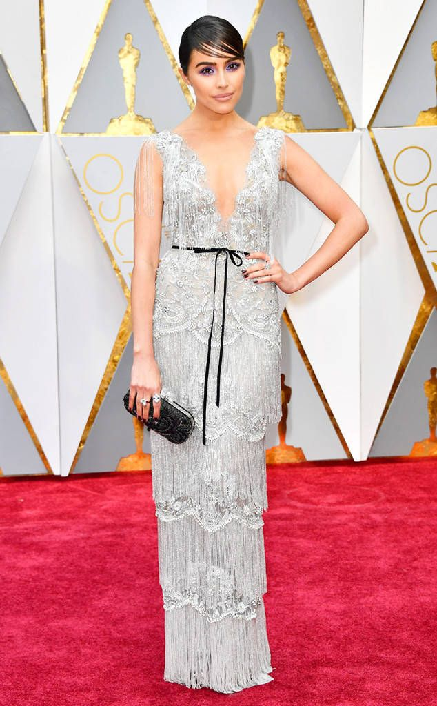 Olivia Culpo from Oscars 2017: Best Dressed Women  Olivia's Marchesa dress is not only stunning—who doesn't love a fringe-clad silver siren?—but it was also made for a cause, which puts it above and beyond in our books. (Bonus points for all thatIrene Neuwirth jewelry, too.)