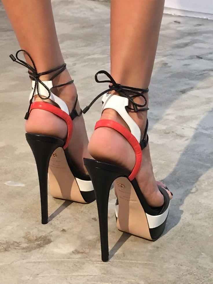 "Ruthie Davis SS17 ""Ryder"" platform heels. #stilettoheelsboots #highheelbootsplatform #platformhighheelsboots"