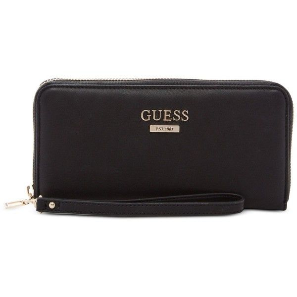 Guess Bryanna Large Zip Around Wallet (755 ZAR) ❤ liked on Polyvore featuring bags, wallets, black, faux leather bag, faux leather wallet, vegan wallet, guess wallet and zip-around wallet