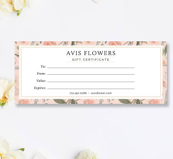 Florist Gift Certificate Template, Gift Voucher, Printable Download, Photoshop Template, INSTANT DOWNLOAD!