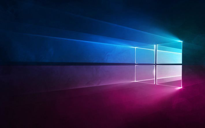 Descargar fondos de pantalla Windows 10, el logotipo de Neón, neón con el emblema de Microsoft, Windows