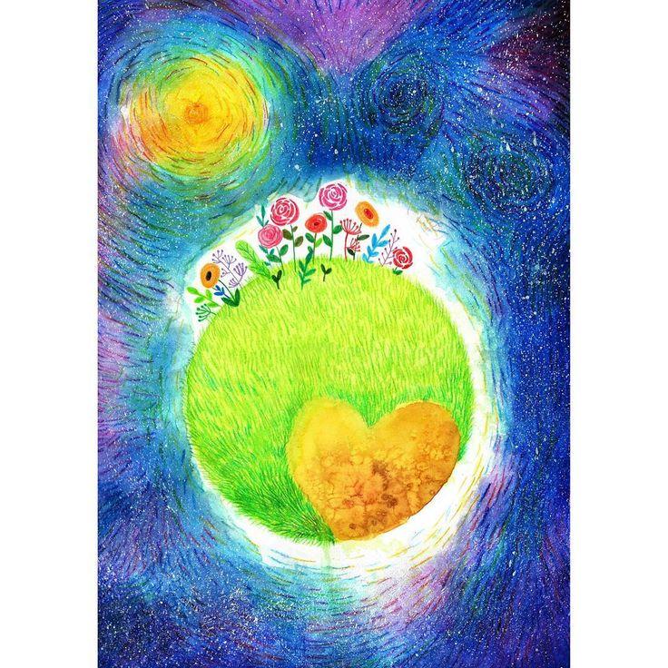 """좋아요 106개, 댓글 2개 - Instagram의 ailin(@ailin_a1)님: """"Pluto. 명왕성  태양계 마지막별까지 태양의 따뜻한 빛이 닿기를... #pluto #illustration #drawing #painting #art…"""""""