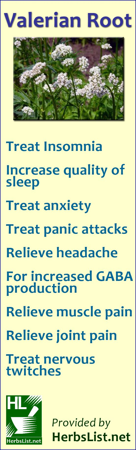 Valerian root is helpful for treating insomnia and anxiety. www.harmony4health.net