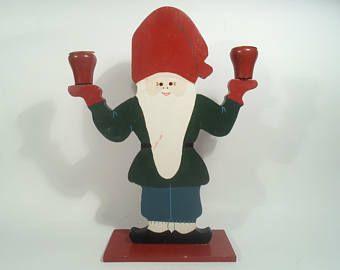Vintage Swedish Christmas Advent Gnome Santa Candle Holder Candlestick Scandinavian Traditional Hand Painted Wood Folk Design Home Decor