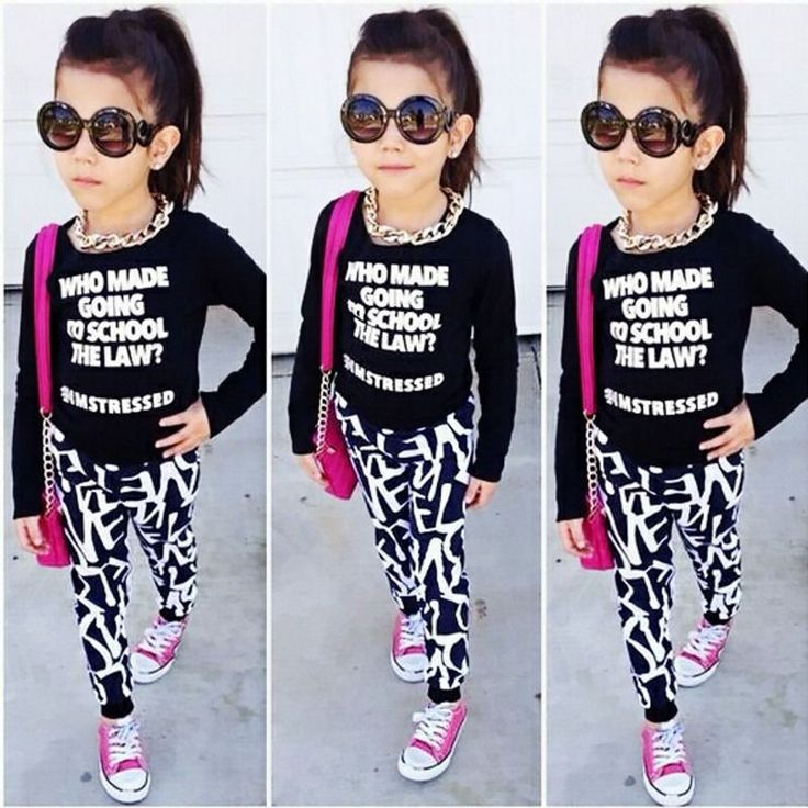 Fashion Toddler Kids Girls Long Sleeve Tops Skinny Pants Outfits Clothes 2-7T