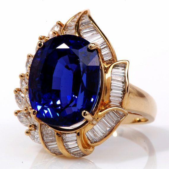 Museum Tanzanite: 20.25ct Diamond Tanzanite Gold Cocktail Ring By