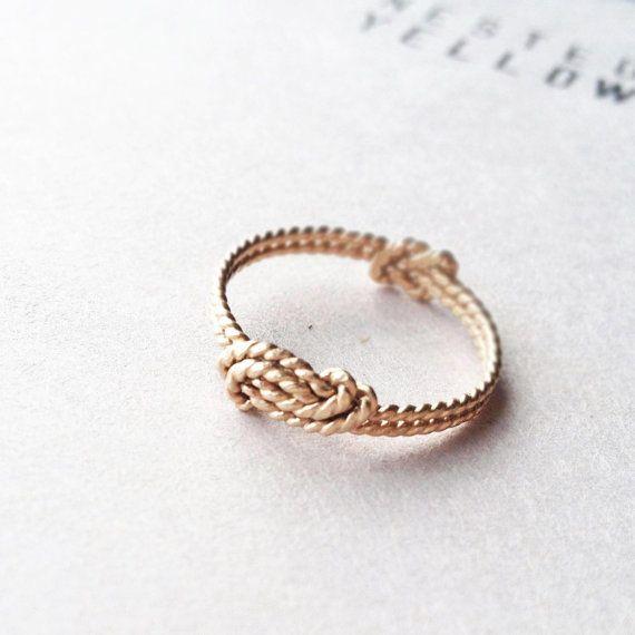 A Sailor's Wave and Secret Love Knot ring - 14k gold filled