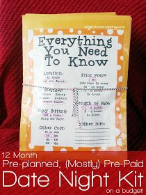 While He Was Napping: 12 Month, Pre-planned, (Mostly) Pre-Paid Date Night Kit {on a Budget}