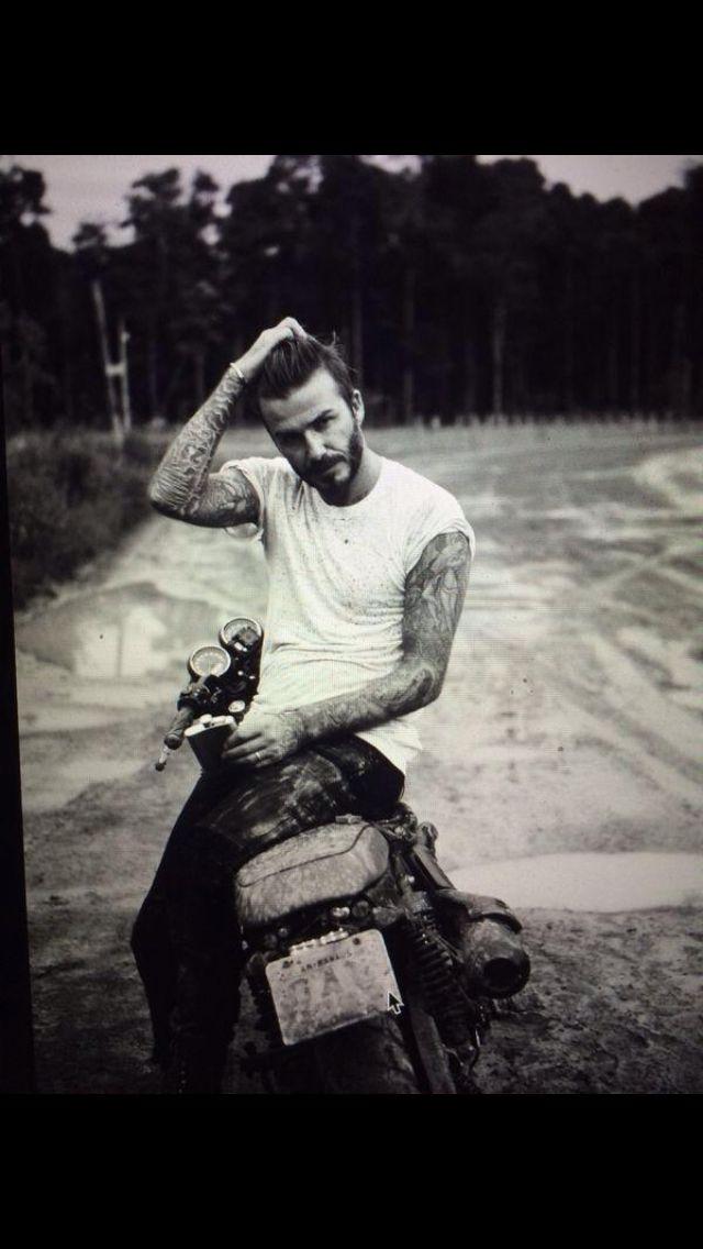David Beckham#White t-shirt#hair#motorbike