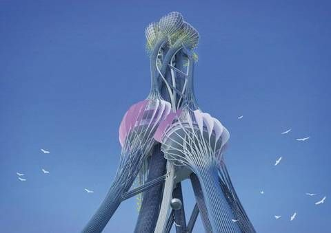 """This tower learns from and responds to nature, and was developed using a """"swarm intelligence system."""""""