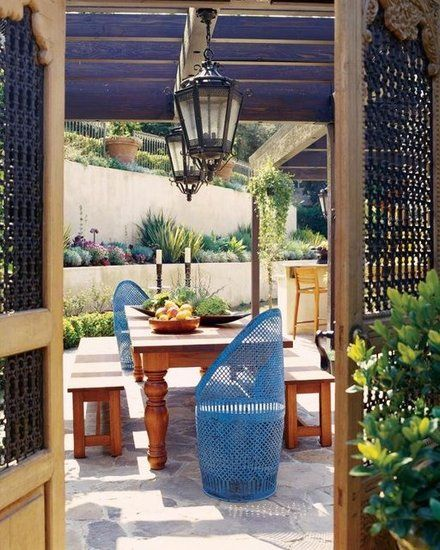 Angela Swinderman Elias on CasaSugarOutdoor Dining, The Doors, Outdoor Living, Dinner Parties, Gardens, Outdoor Room, Blue Chairs, Outdoor Spaces, Outdoor Life