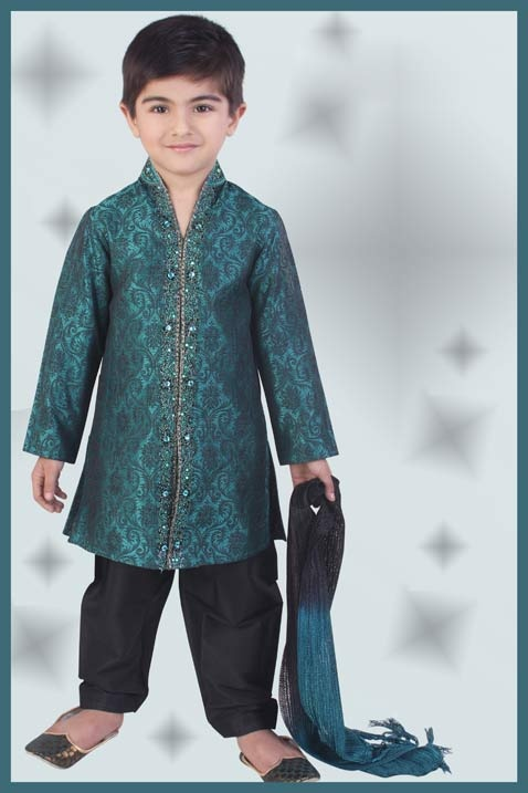 Teal and Black Poly Brocade Kurta Pajama with Dupatta 57.41  (Too small for Samedh, but love the color.)