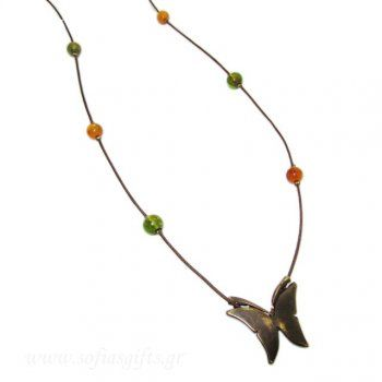 Handmade brass long necklace with antique gold butterfly and orange, green pearls - Sofia - handmade jewlery & accessories