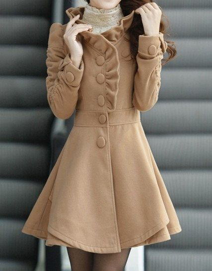 Khaki / Red /Blue wool women coat women dress coat Apring Autumn Winter --CO056. $88.99, via Etsy.