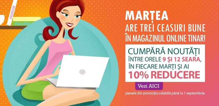 Pentru că shoppingul e terapie... SURPRIZĂ :)    În fiecare marţi, de la ora 9 la ora 12 seara, dacă îţi comanzi noutăţi de pe http://www.tinar.ro/marteacubucurie/pagina_5.html, ai 10% reducere la ele.    Cu TinaR, marţea are trei ceasuri bune!