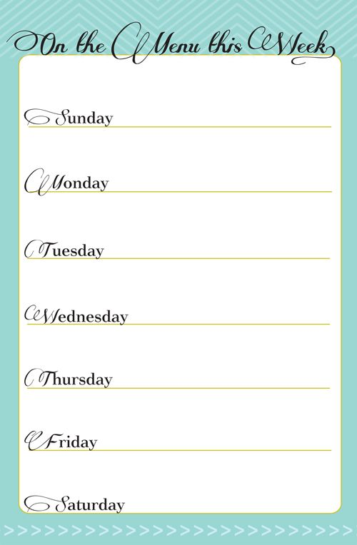 In Honor Of Design: Free Printable: Weekly Meal Planner