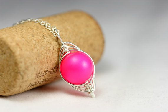Neon Pink Necklace Wire Wrapped Jewelry by JessicaLuuJewelry, $30.00