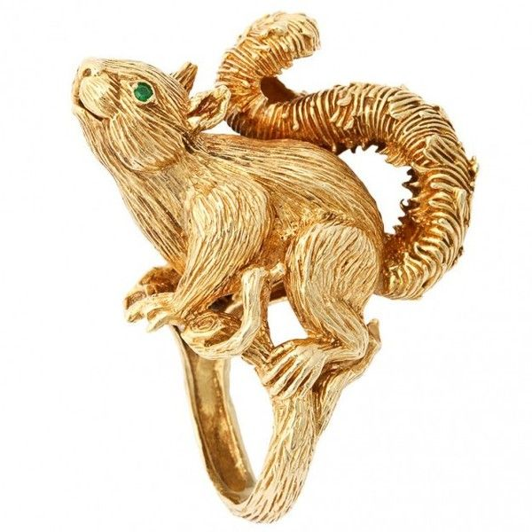Kurt Wayne Sculptured Squirrel Ring 18KT Gold Emerald