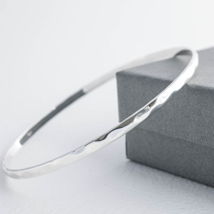 Simple and Delicate | Sterling Silver Slim Hammered Slave Bangle | Tulip Jewellery WOMEN'S JEWELRY http://amzn.to/2ljp5IH