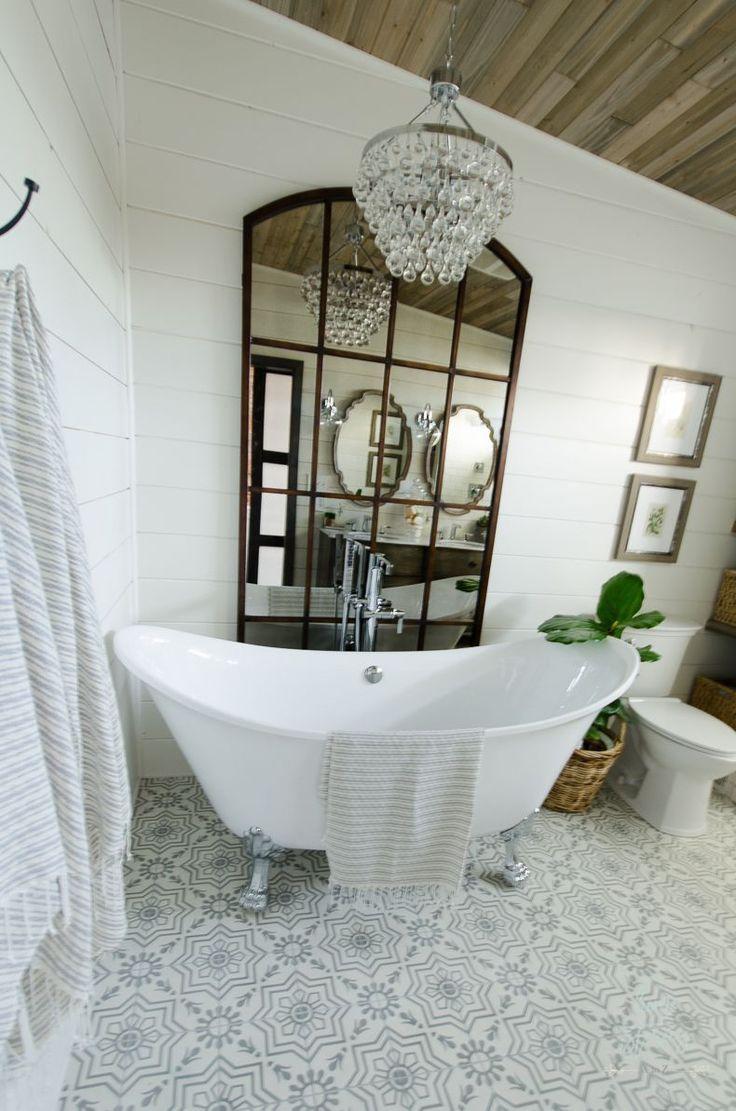 Beautiful Bathroom Remodel And Complete Transformation To This Dream Bath Urban Far With Images Farmhouse Master Bathroom Modern Farmhouse Bathroom Master Bathroom Design