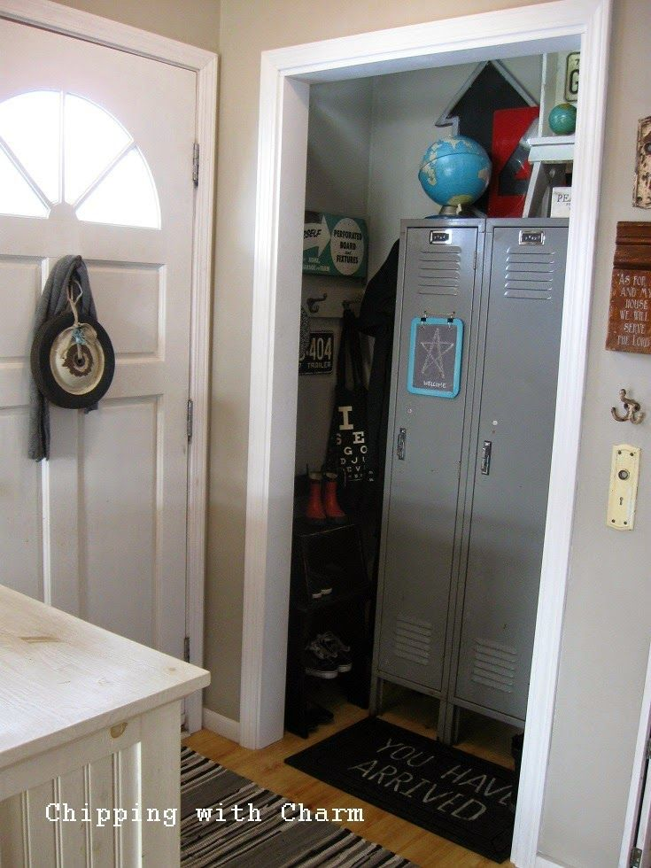Chipping With Charm: Entry Closet Redo With Vintage  Lockers...www.chippingwithcharm