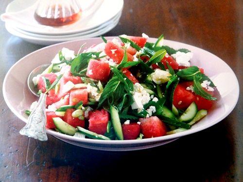 Watermelon, feta and white balsamic salad