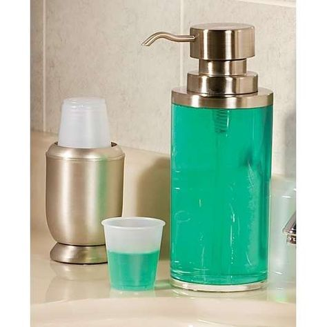 no more unsightly bottles of mouthwash on counter. gonna find an olive oil dispenser for me