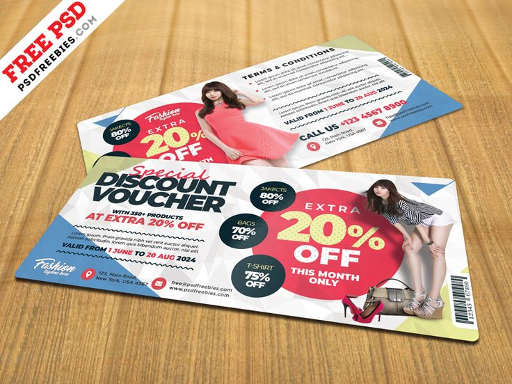Download Free Discount Voucher Design Template PSD. A promotional gift voucher is colorful and creative design that can adapt to any kind of promotion for any product and sale. It is a creative gift voucher or discount coupon for any kind of business like fashion, shopping mall, beauty salon, spa center, cosmetics, boutique, and so on. Hope you like it. Enjoy!