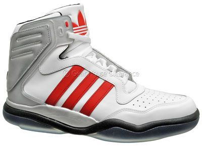 Adidas Originals Tech Street Mid Mens Basketball Shoes (NEW) White/Red/Silver