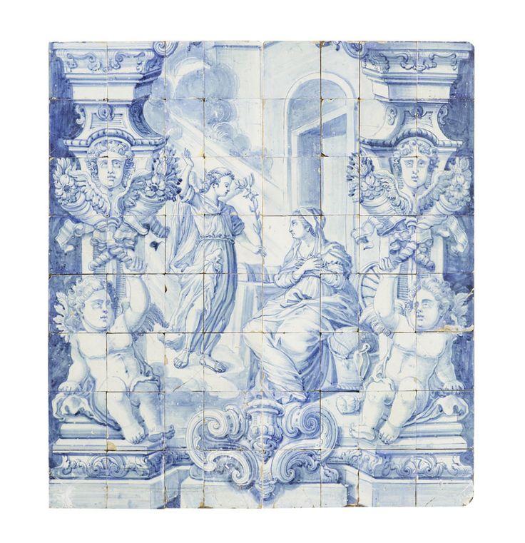 Painel de 64 azulejos representando Anunciação. Fabrico de Lisboa, 2º quartel do séc. XVIII. Decoração em tons de azul.