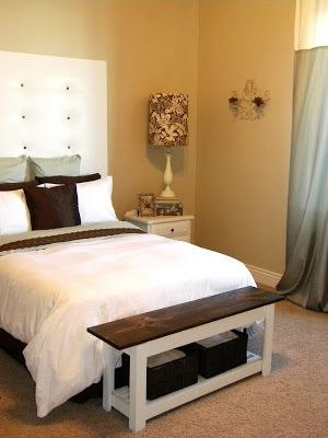 Great idea for a narrow bench at the end of the bed (spare or main bedroom