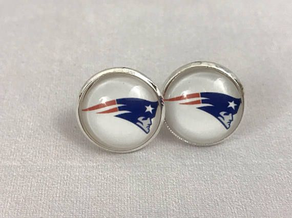 New, NFL New England Patriots Button Pierced Earrings. Great gift for a Packers fan. Handcrafted. 14mm.