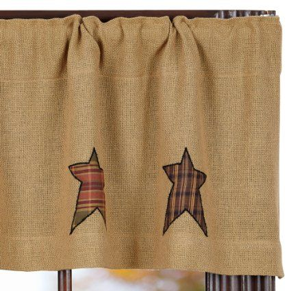 check out the deal on stratton burlap applique star valance at primitive home decors find this pin and more on country kitchen curtains