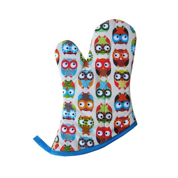 Stylish Owls Oven Mitt by collisionware on Etsy