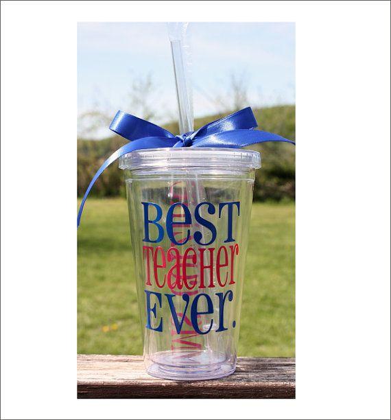 Best Teacher Ever Acrylic Tumbler by CustomVinylbyBridge on Etsy, $14.00