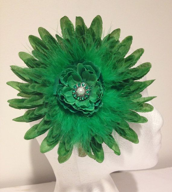 St Patrick's Jumbo Shamrock Green Marabou Emerald Rhinestones and Pearl Glitter Headband. Buy it on Etsy. Handmade  by FancyGirlBoutiqueNYC, $14.99