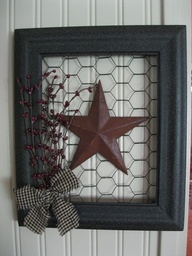 Framed Star with Chicken Wire
