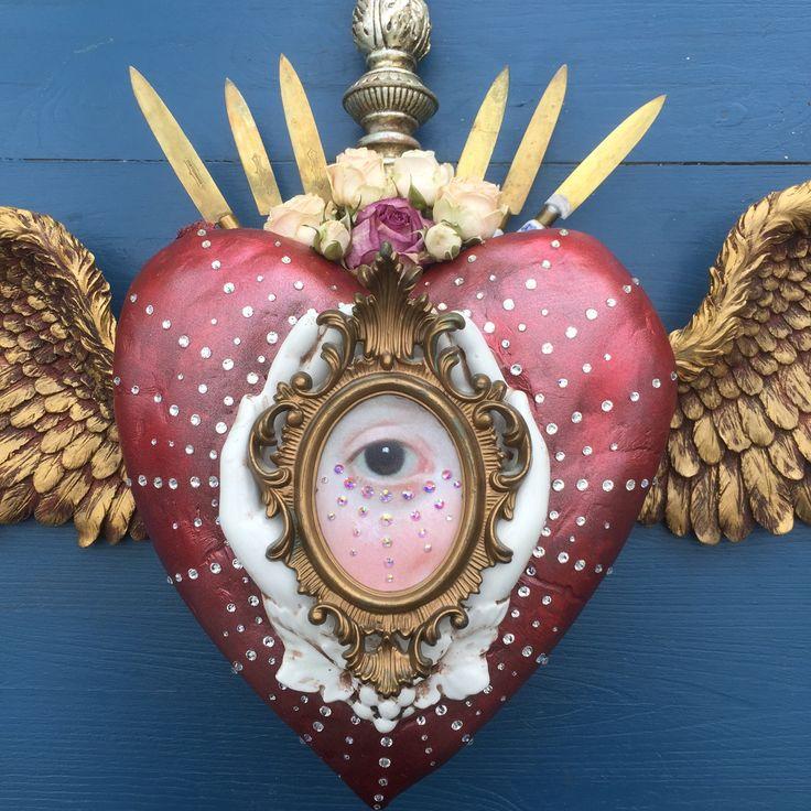 Assemblage art sacred heart by Van Asch.